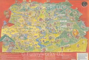 Canberra cartoon map - Parks and Recreation finder for newspaper liftout - click for full size